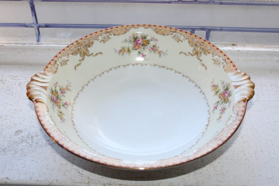 Vintage Meito China Serving Bowl Derby Pattern 1940s