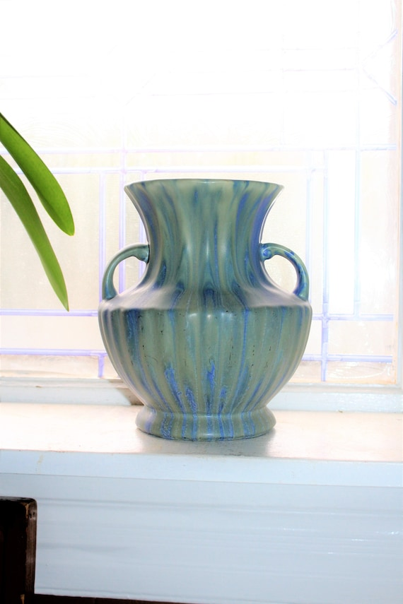 Vintage Art Pottery Ribbed Vase with Handles Blue and Green Drip Glaze