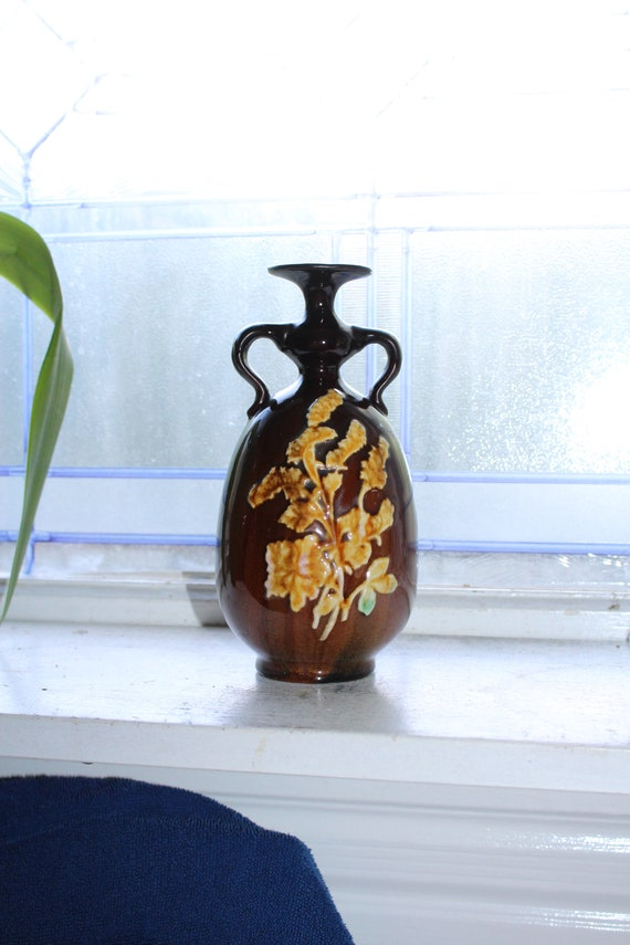 Peters and Reed Pottery Handled Vase Sprigware on Brown Antique 1910s