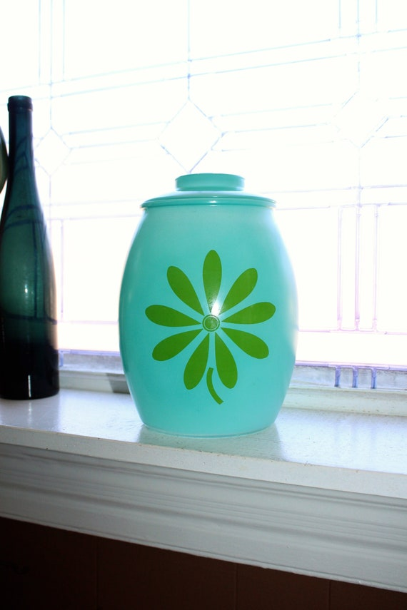 1960s Hippy Flower Power Cookie Jar Bartlett Collins Green & Turquoise