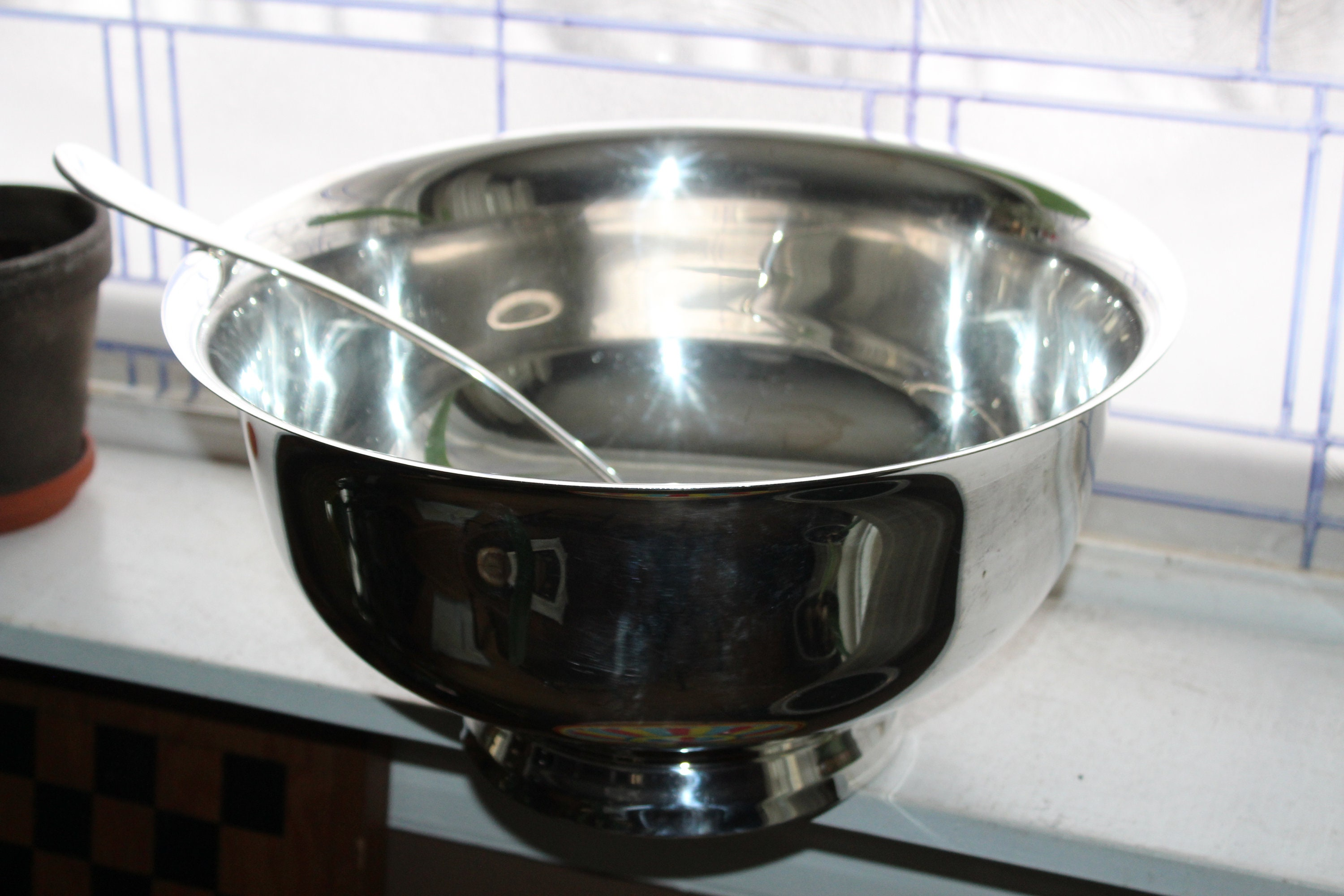 Extra Large Silverplate Punch Bowl with Ladle and Plate