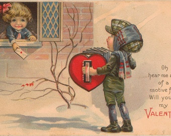 ACCORDIAN Hand Cancelled PLAYING GAME Vintage Postcard c1905 Boys and Girl play Ring a Ring o/' Roses