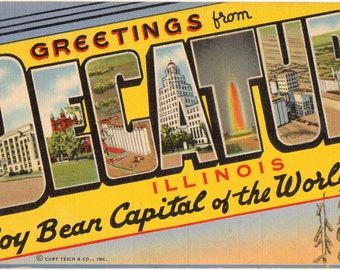 Linen Postcard, Greetings from Decatur, Illinois, Soy Bean Capital, Large Letter