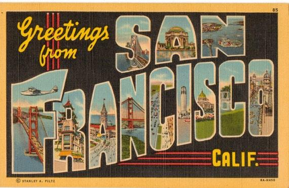 Linen postcard greetings from san francisco california m4hsunfo