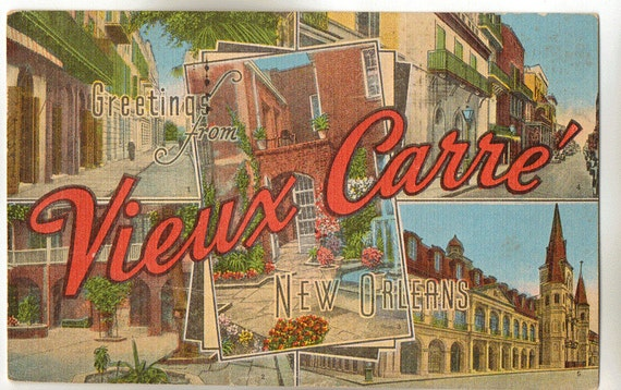 Linen postcard greetings from vieux carre new orleans louisiana linen postcard greetings from vieux carre new orleans louisiana large letter m4hsunfo
