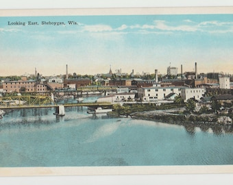 Linen Postcard, Greetings from Sheboygan, Wisconsin, Pigeon River, Large Letter, ca 1930