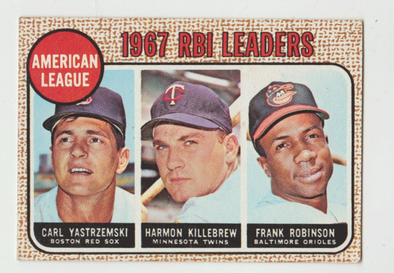 1968 Topps Baseball Card 1967 Al Rbi Leaders Yastrzemski Killebrew Robinson