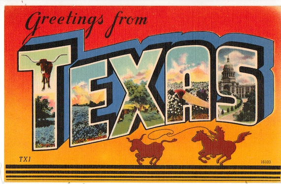 Linen postcard greetings from texas capitol steer blue etsy image 0 m4hsunfo