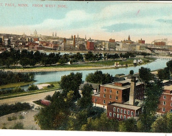 Vintage Postcard, St Paul, Minnesota, View of City from West Side, ca 1910