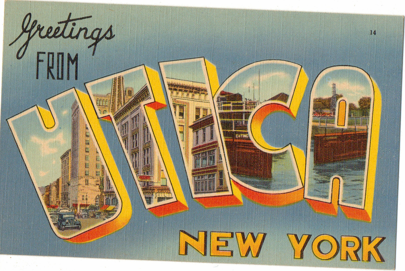 Linen Postcard Greetings From Utica New York Large Letter Etsy