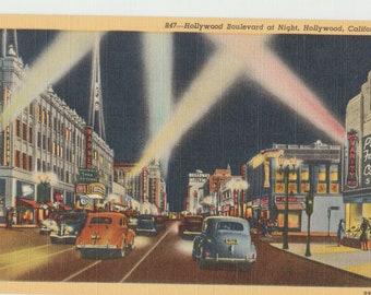 Linen Postcard, Hollywood, California, Hollywood Boulevard at Night