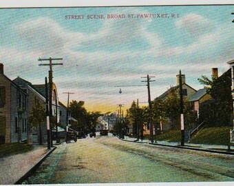 Vintage Postcard, Pawtuxet, Rhode Island, Broad Street Scene, ca 1910