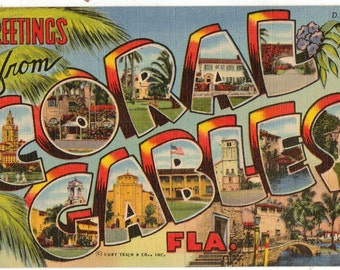 Linen Postcard, Greetings from Coral Gables, Florida, Large Letter, ca 1950