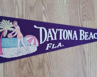Daytona Beach, Florida Pennant, Girl, Beach, Umbrella, Purple and White, ca 1957