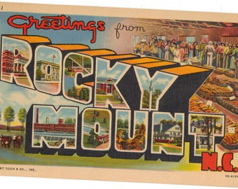 Linen Postcard, Greetings from Rocky Mount, North Carolina, Tobacco, Large Letter, 1954
