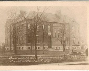 Real Photo Postcard, Arnold School, Marshalltown, Iowa, Wagon, ca. 1920