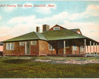 Vintage Postcard, Greenfield, Massachusetts, Greenfield Country Club House, ca 1910
