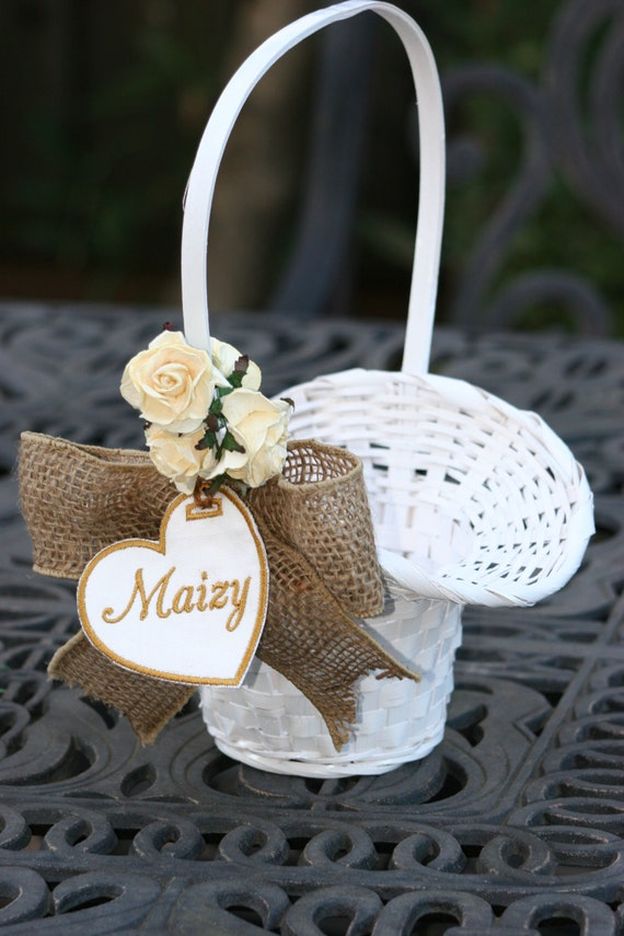 Adorable personalized white wicker flower girl basket etsy image 0 mightylinksfo