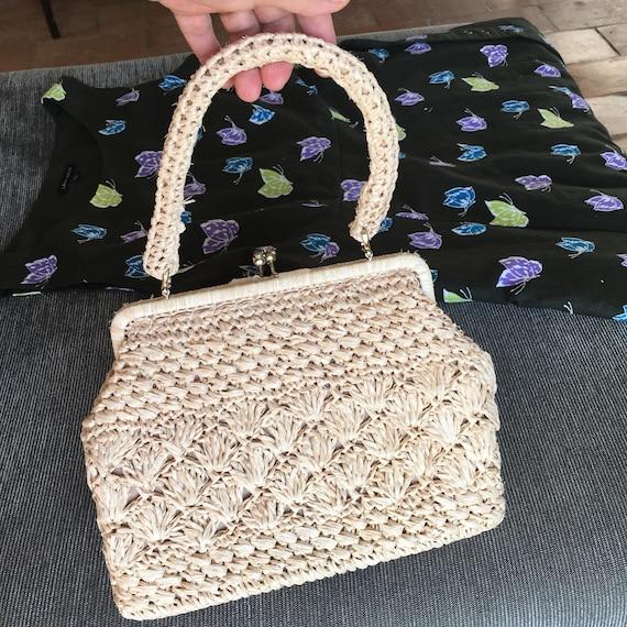 Original vintage crochet straw bag 60s