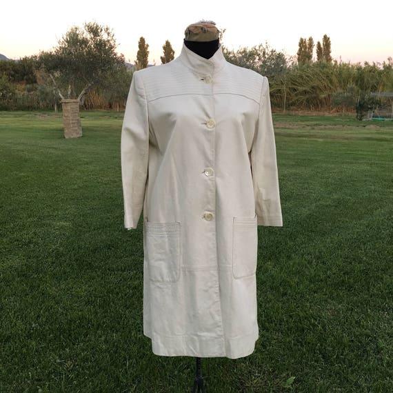 Valentino Garavani vintage white leather coat