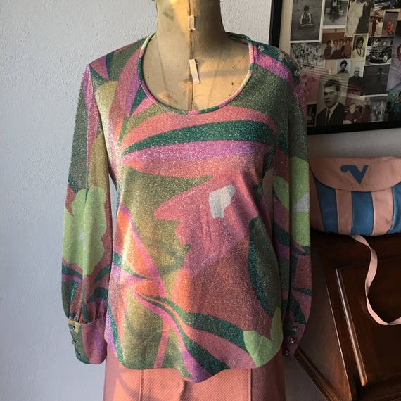 60s lurex tailored blouse with cristal buttons