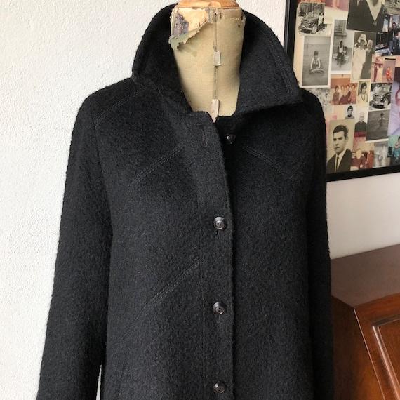 Wool long black coat