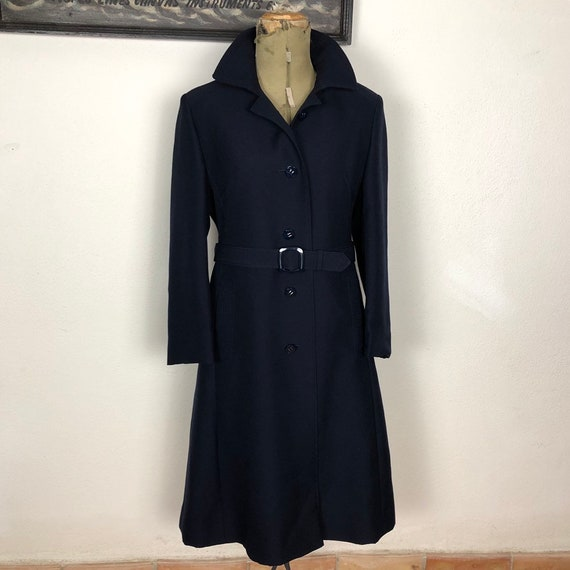 Trench coat blue wool gabardine 1970s