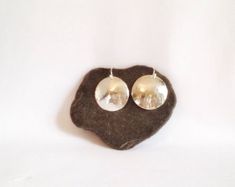 Large Silver Disk Earrings