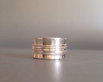 Spinner Ring - Silver Wide Band Ring - Meditation Ring