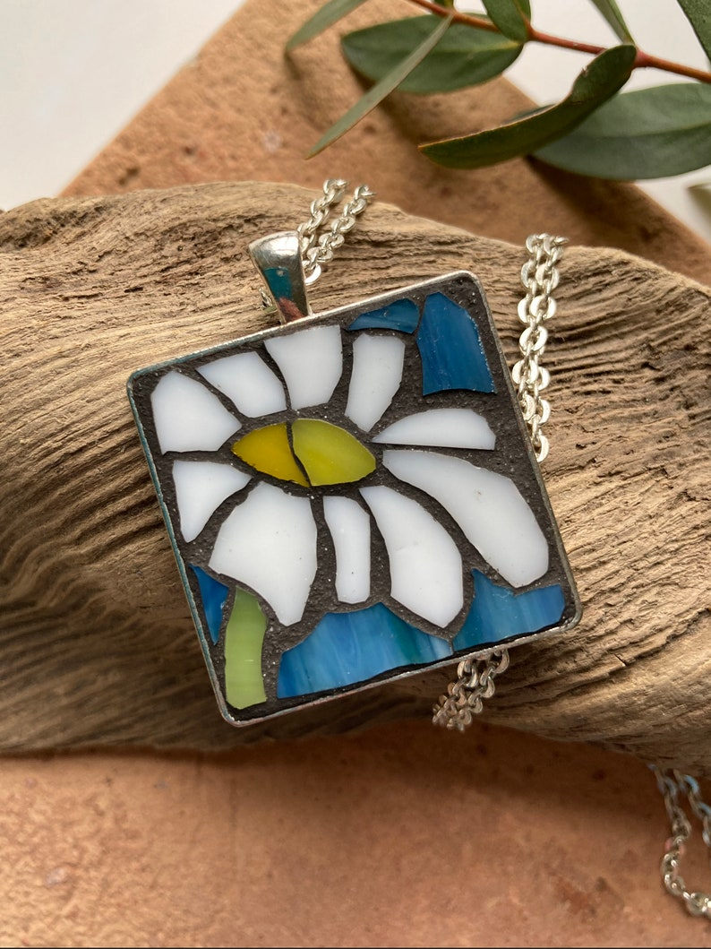 blue daisy pendant silver mini mosaic art white Mosaic necklace stained glass
