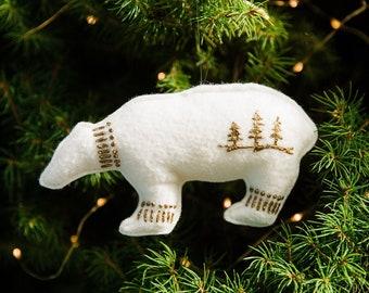 Felt Polar Bear Ornament, Spirit Bear Ornament, Felt Ornaments, Christmas Ornaments, White Felt Polar Bear, Bear Ornament, Polar Bear, White