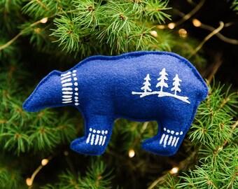 Felt Polar Bear Ornament, Spirit Bear Ornament, Felt Ornaments, Christmas Ornaments, Bear Ornament, Polar Bear, Royal Blue