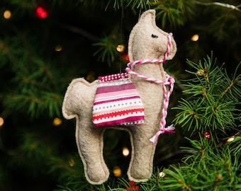 Felt Llama Ornament, Felt Ornament, Llama Ornament, Llama Gifts, Llama Decor, Ornaments, Christmas Ornaments, Felt Animals, Llamas, Beige