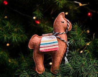 Felt Llama Ornament, Felt Ornament, Llama Ornament, Llama Gifts, Llama Decor, Ornaments, Christmas Ornaments, Felt Animals, Llamas, Orange