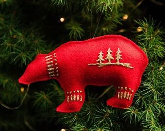 Felt Polar Bear Ornament, Spirit Bear Ornament, Felt Ornaments, Christmas Ornaments, Bear Ornament, Polar Bear, Red