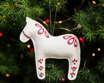Felt Dala Horse Ornament, Felt Ornaments, Christmas Ornaments, Handmade Ornaments, Dala Horse, Felt Horse, Christmas Decor, Traditional