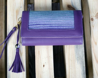 Purple Leather Ladies Clutch. Small Ladies Leather Handbag and Shoulder bag with Handwoven Facing. Mother's Day Gift. Ladies Art Bag.
