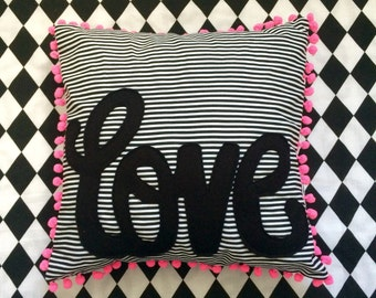 Love Cushion, love motif, neon pink, monochrome, pom pom trim, cushion, stripes