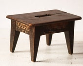 Rustic Vintage French Wooden FOOTSTOOL