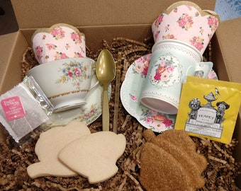 Dog tea party set Tea cup Dog treats and decorate your own cookies and treats Special-TEA Gift Box