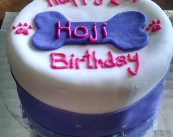 Personalized Birthday 4 Inch Dog Cake Peanut Butter Banana