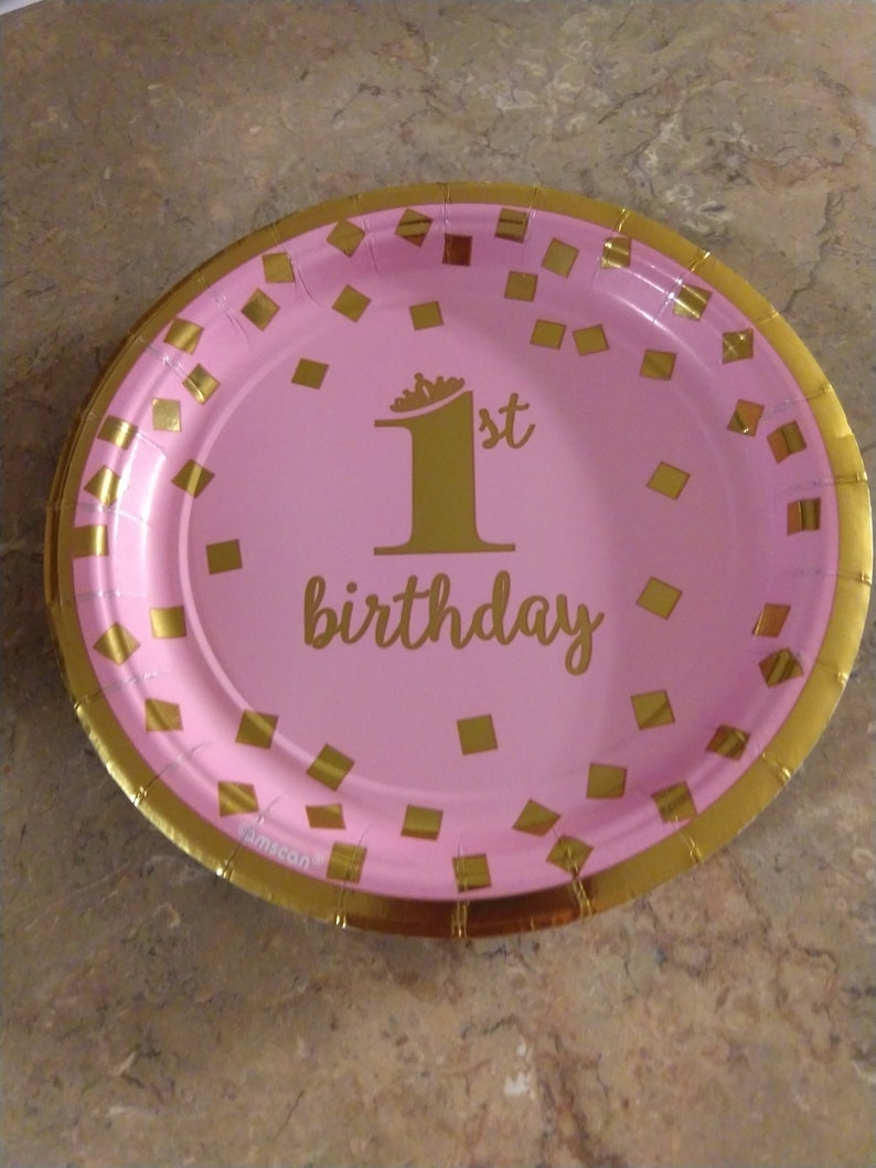 Small dessert pink first birthday plate Dog Themed Party Puppy image 0