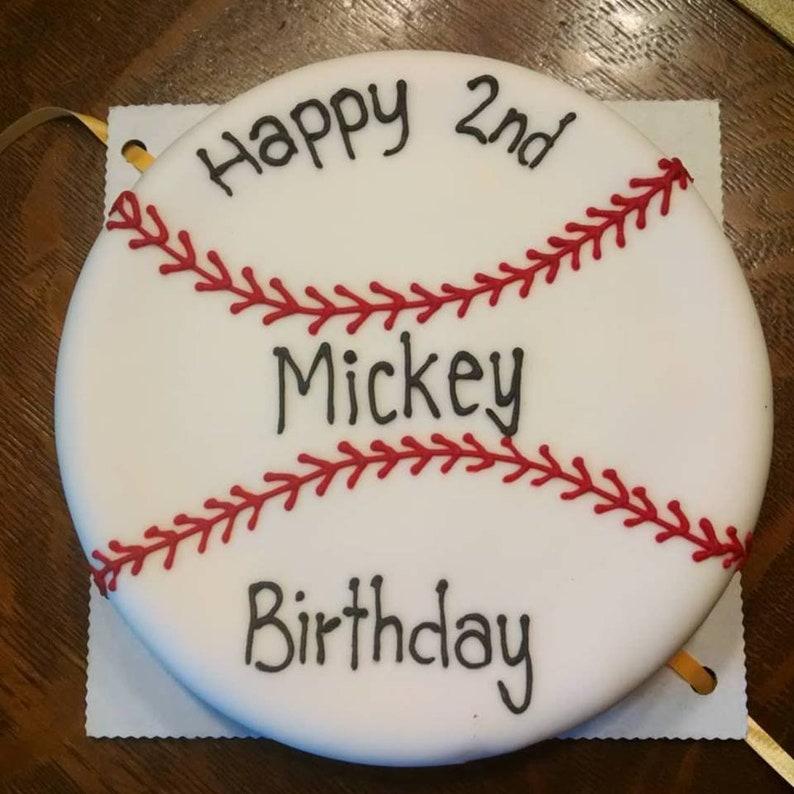 Baseball Ball 6 inch Dog Birthday Cake Peanut Butter Banana image 0