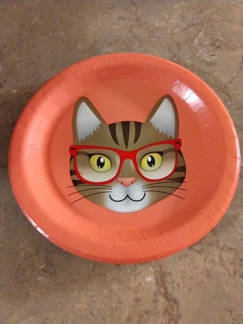 Small dessert  birthday plate cat with glasses image 0
