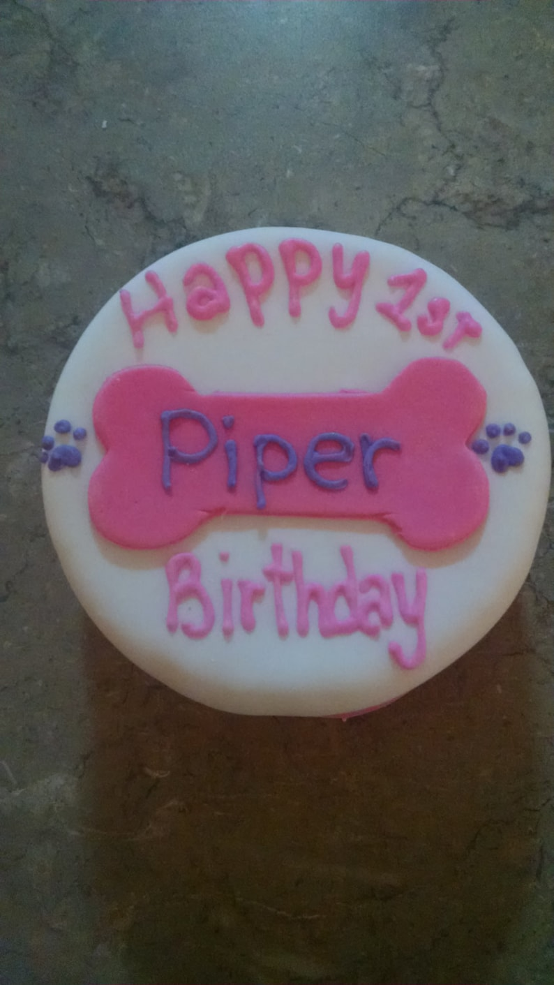 Personalized Birthday 4 inch Dog Birthday Cake Peanut Butter image 0
