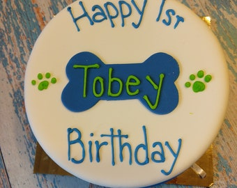 Personalized (6 in) Dog Birthday Cake Peanut Butter Banana dog cake pet gift feeds 8 dogs
