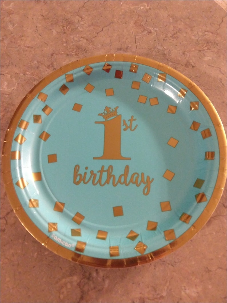 Small dessert blue first birthday plate Dog Themed Party Puppy image 0