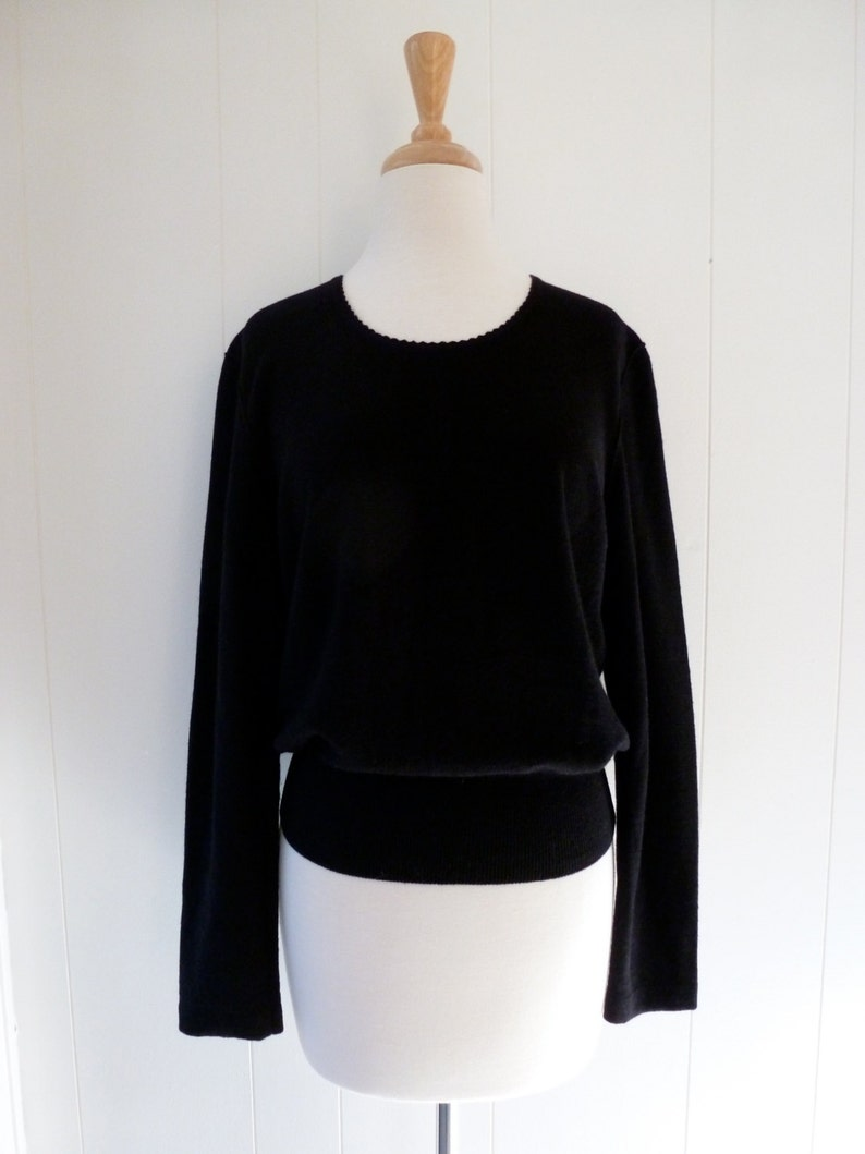 62442166358 Sonia Rykiel Paris Little Black Sweater Wool Angora Top Shirt