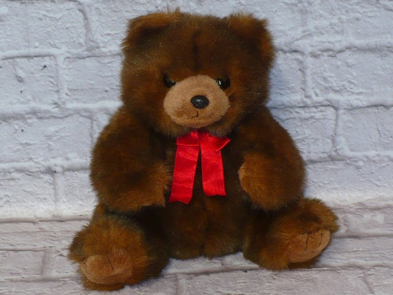 Ty 1990 McGee Brown Teddy Bear with Red Ribbon Plush Stuffed  35d162a6895