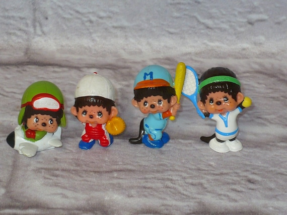 MONCHHICHI PVC FIGURE Lot of 4 Figurines 1979 Vintage Airplane Baseball Tennis 2